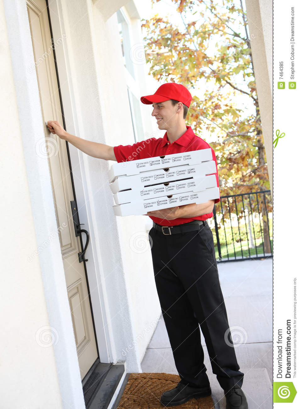 image A pizza delivery boy gets tied up with sticky bdsm tape