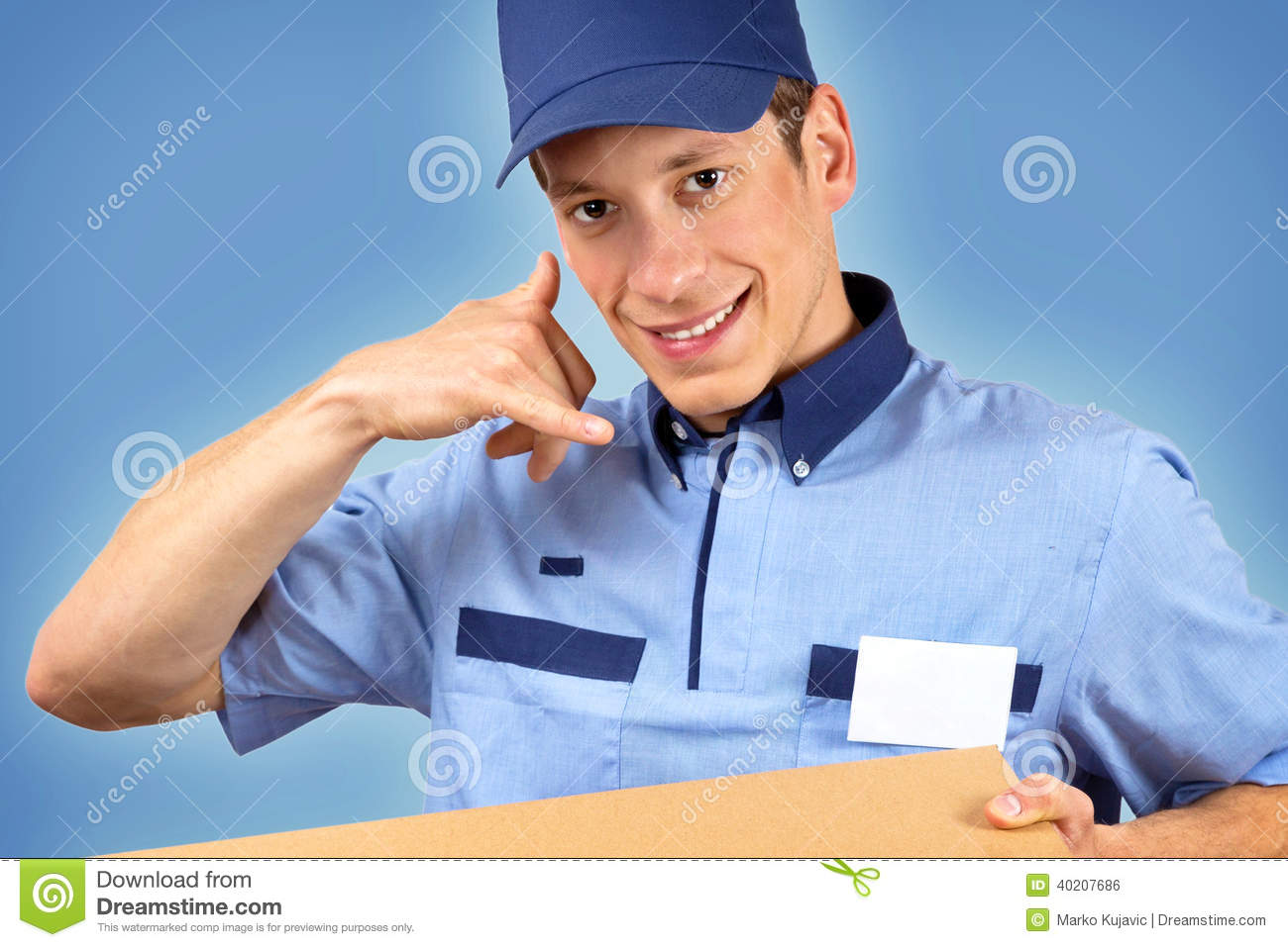 Pizza Delivery Man With Customer Stock Image
