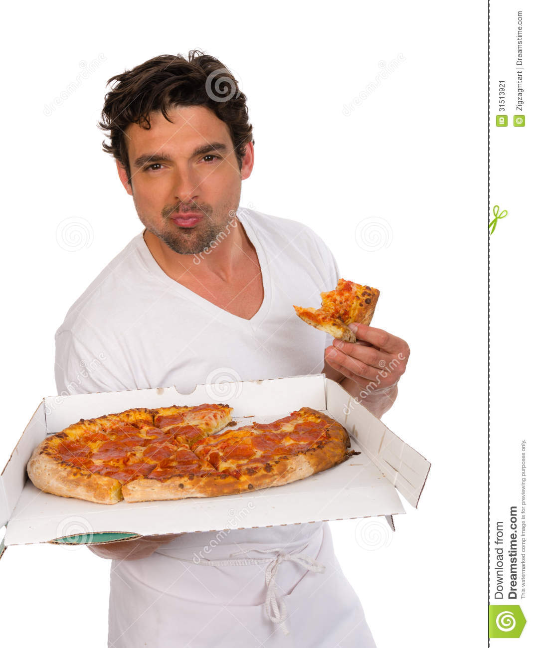 pizza delivery man with a pizza stock image image 31513921. Black Bedroom Furniture Sets. Home Design Ideas
