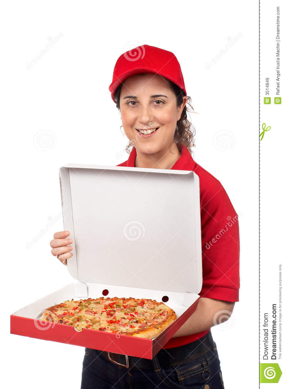 Pizza delivery woman holding a hot pizza isolated on white
