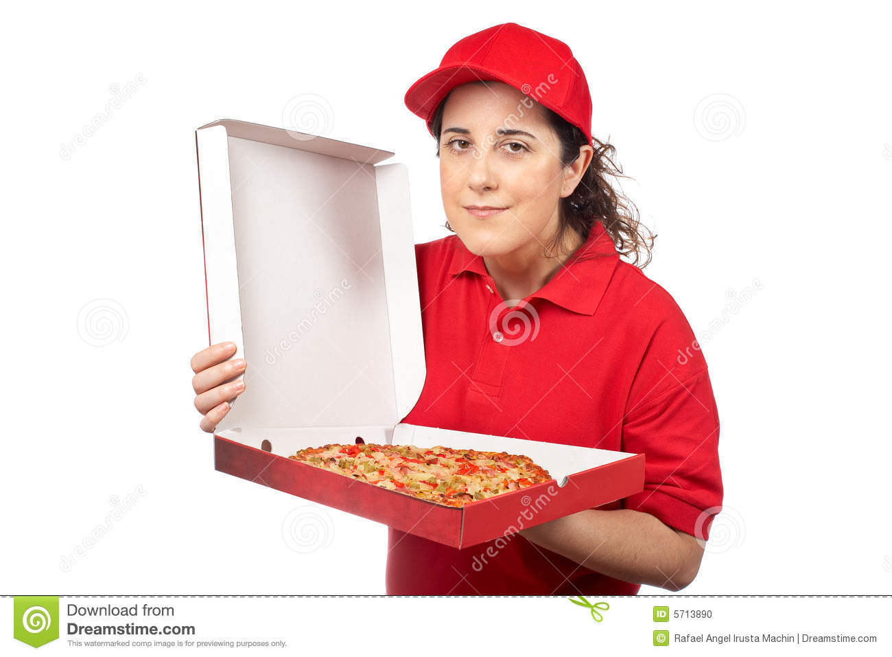Pizza delivery woman stock photo. Image of fresh, greasy ...
