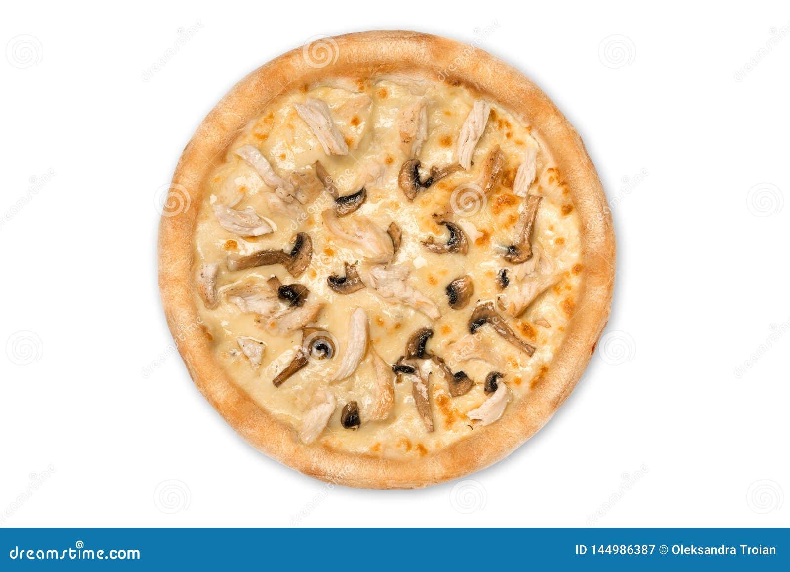Pizza deliziosa con il pollo, parmigiano, pomodori, funghi isolati per il menu, vista superiore