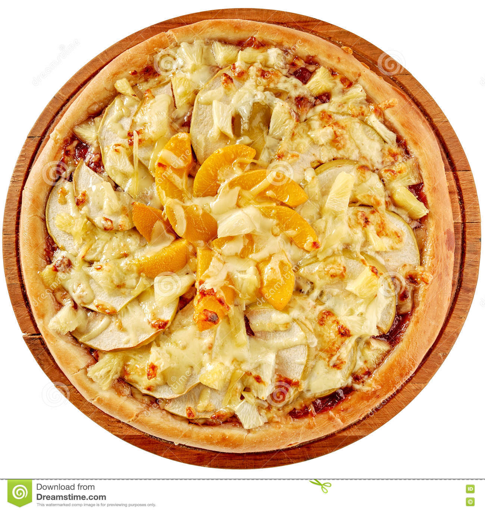 Pizza do fruto com abacaxi, pêssegos e maçãs