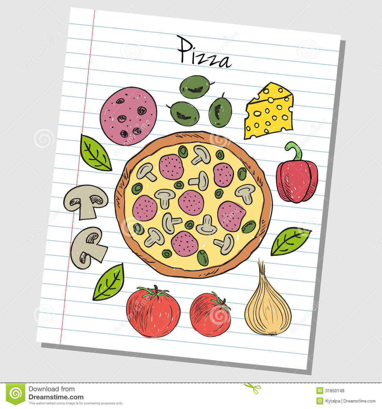 Pizza Doodles - Lined Paper Royalty Free Stock Photos ...