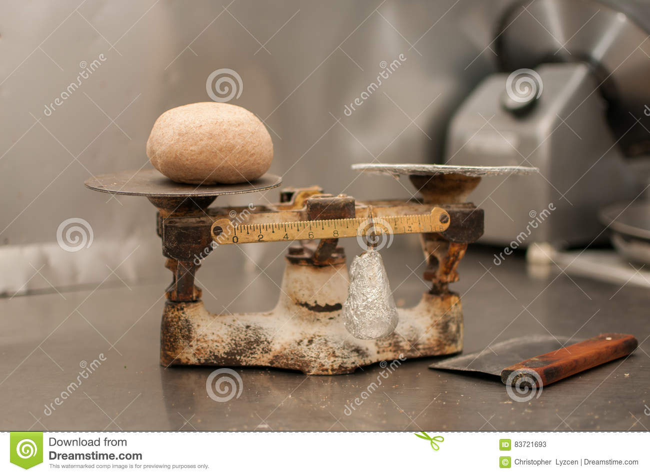Pizza Dough Ball On Scale Stock Photo