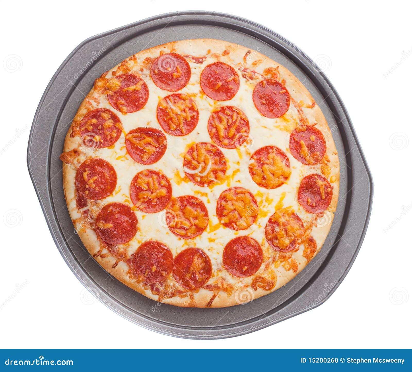 pizza en bandeja foto de archivo imagen de salchichones