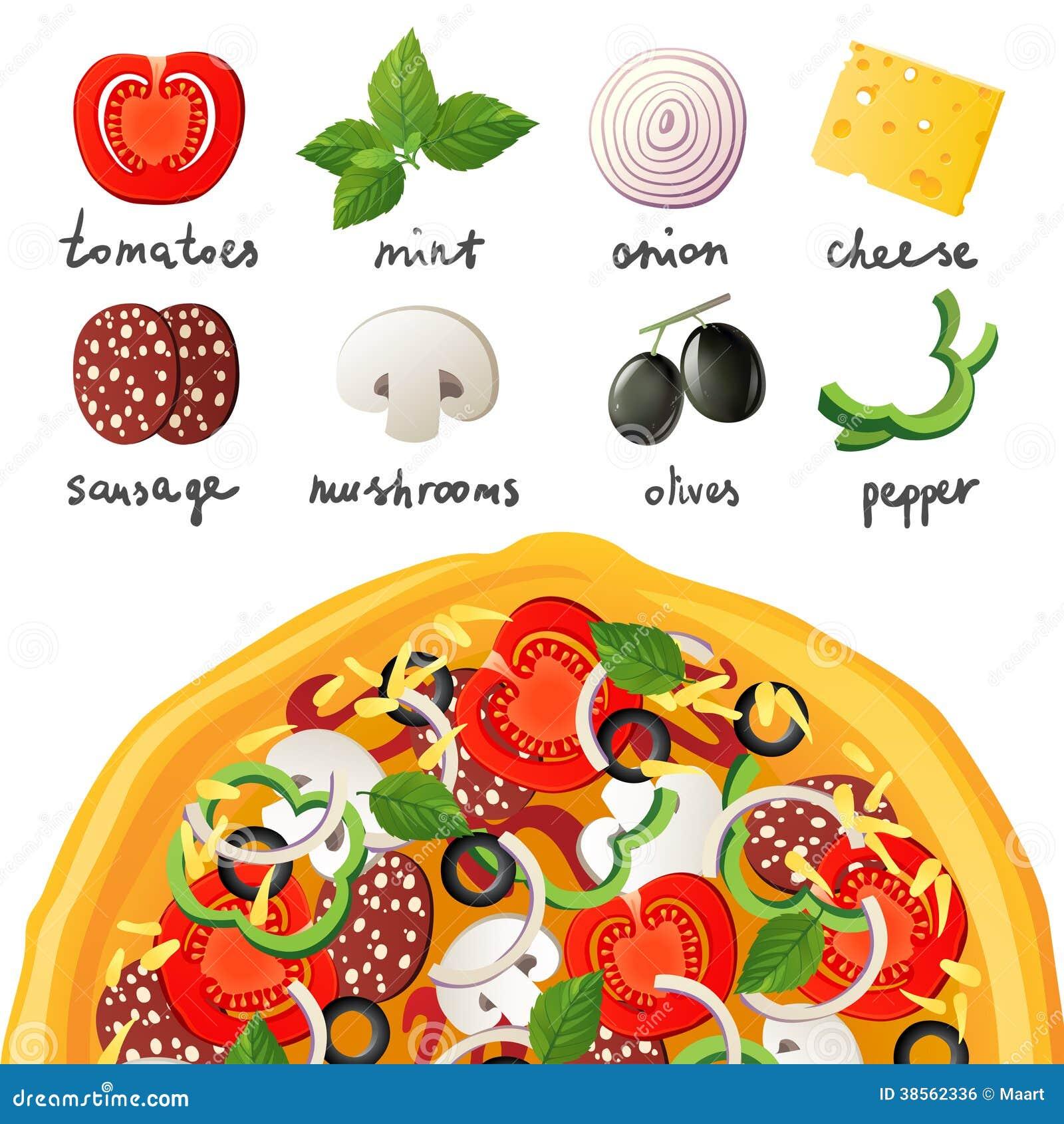 Pizza en ingrediënten