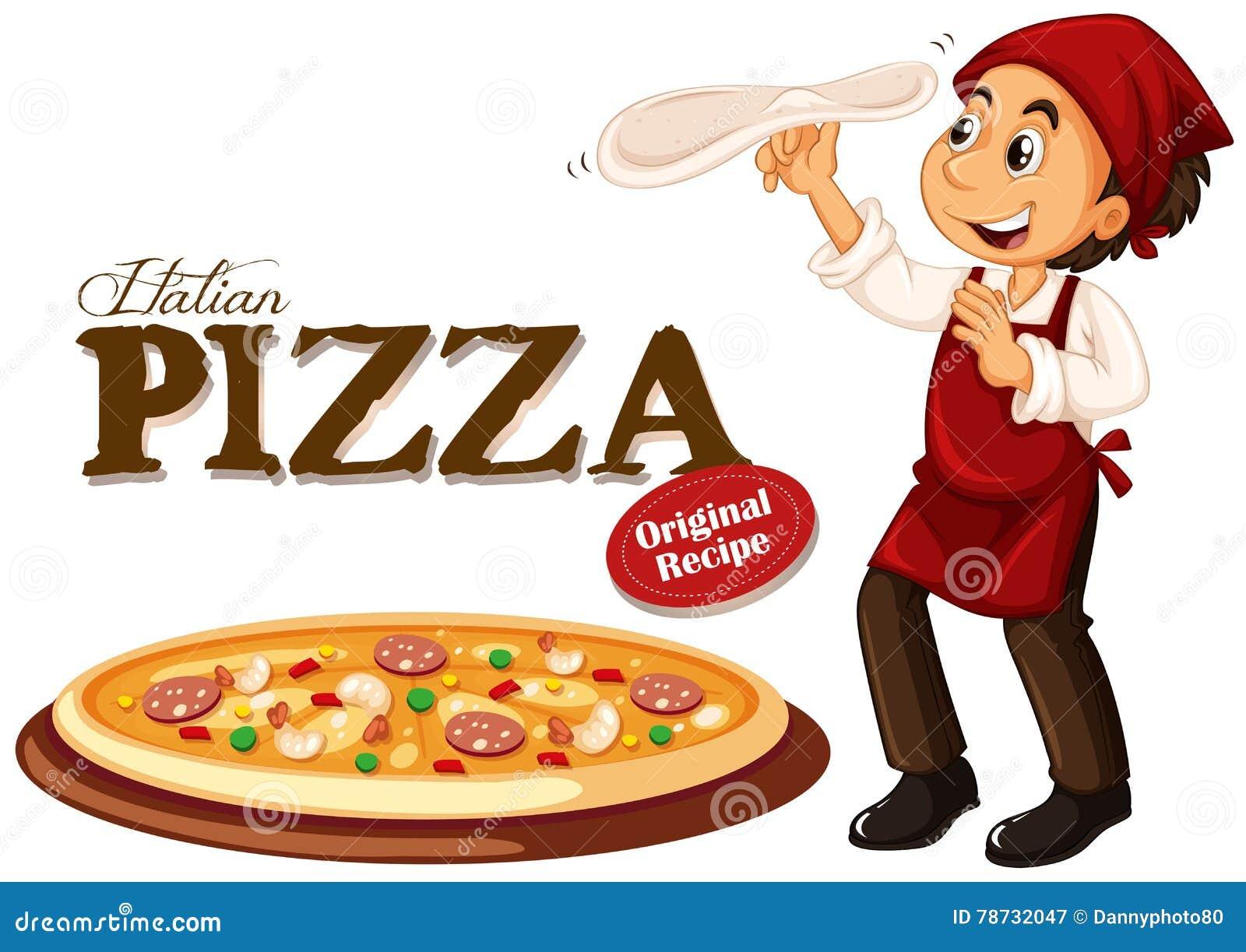 Pizza för kockdanandeitalienare
