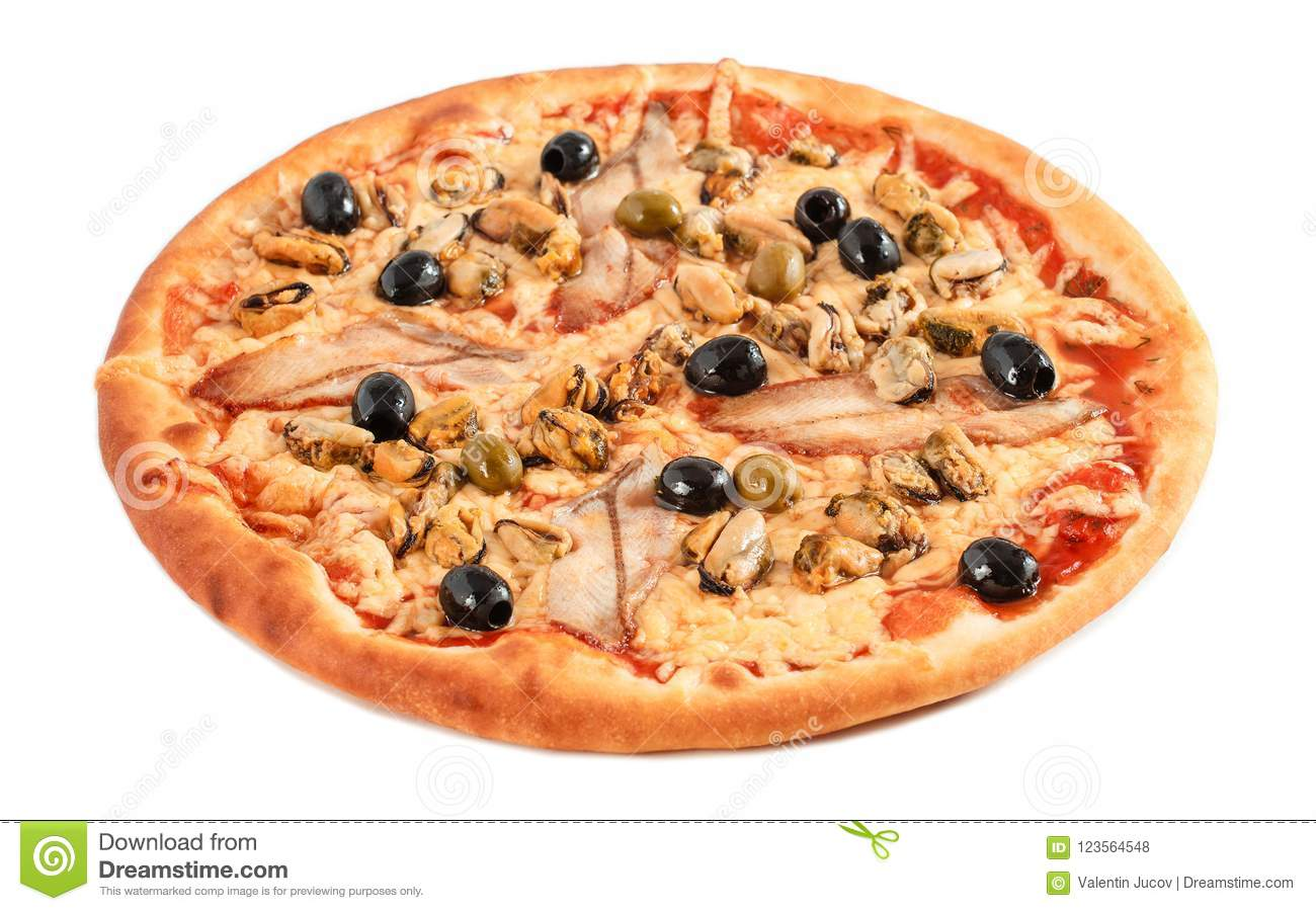 Pizza with fish eel, mussel, black and green olives, cream cheese isolated on white background.