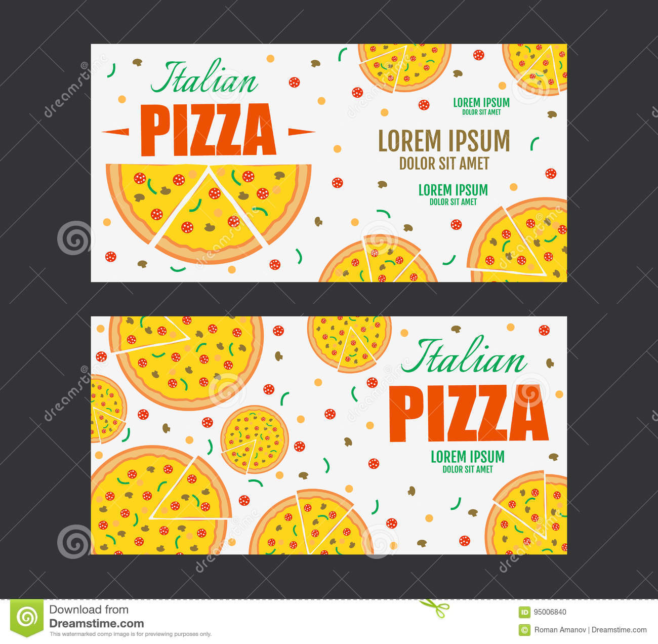 Pizza Flyer Vector Template Two Pizza Banners Gift Voucher Stock