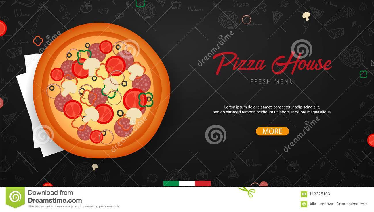 Pizza Food Menu For Restaurant And Cafe Design Banner With