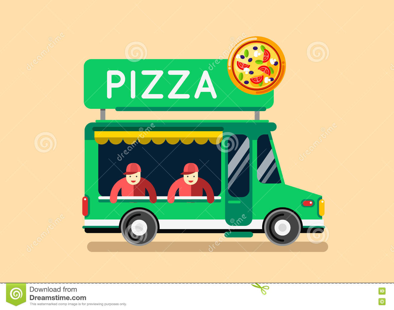 Pizza Food Truck City Car Food Truck Auto Cafe Mobile