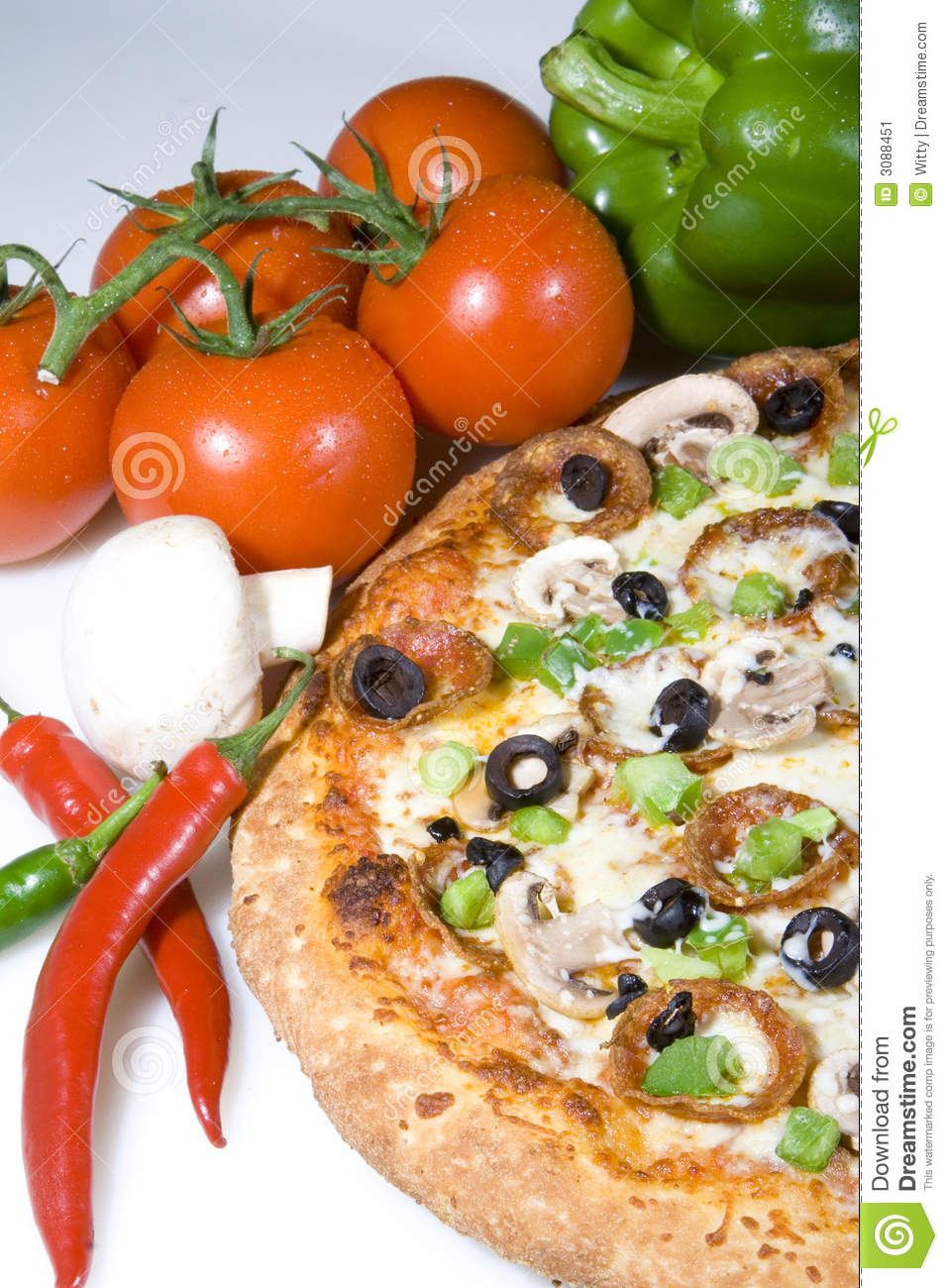 Pizza And Fresh Ingredients Stock Image - Image: 3088451