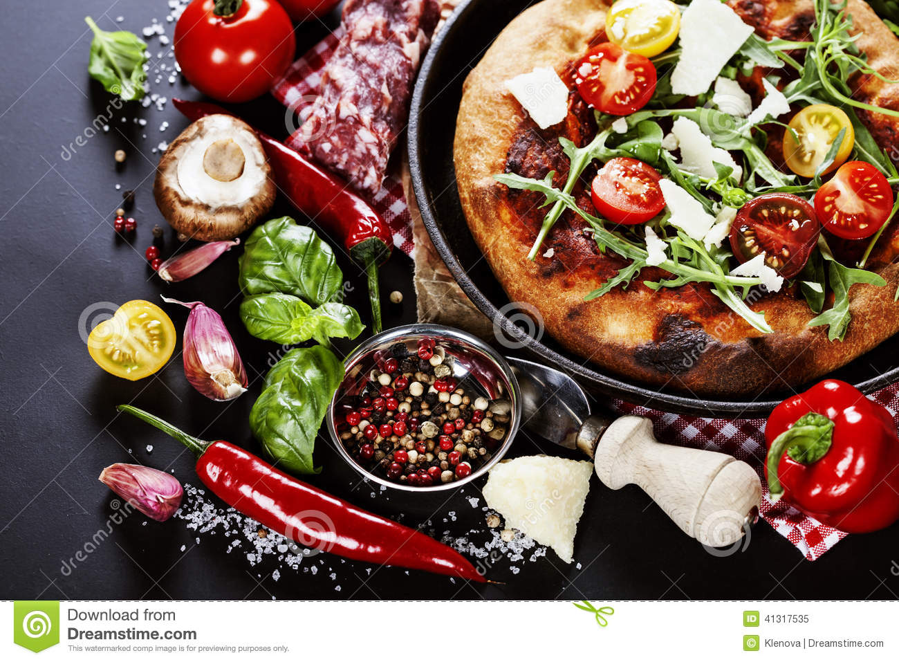 Pizza And Fresh Italian Ingredients Stock Photo - Image ...