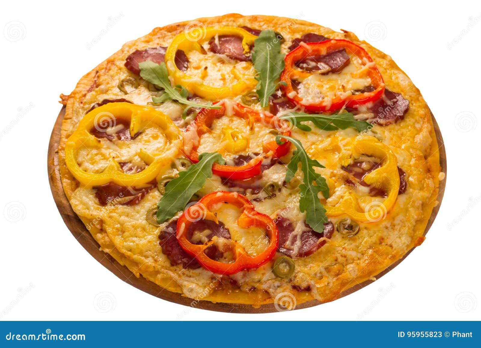 Pizza gedient auf hölzerner Platte