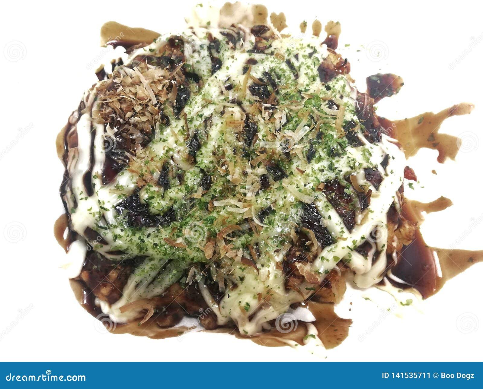 Pizza giapponese Okonomiyaki è pancake giapponesi