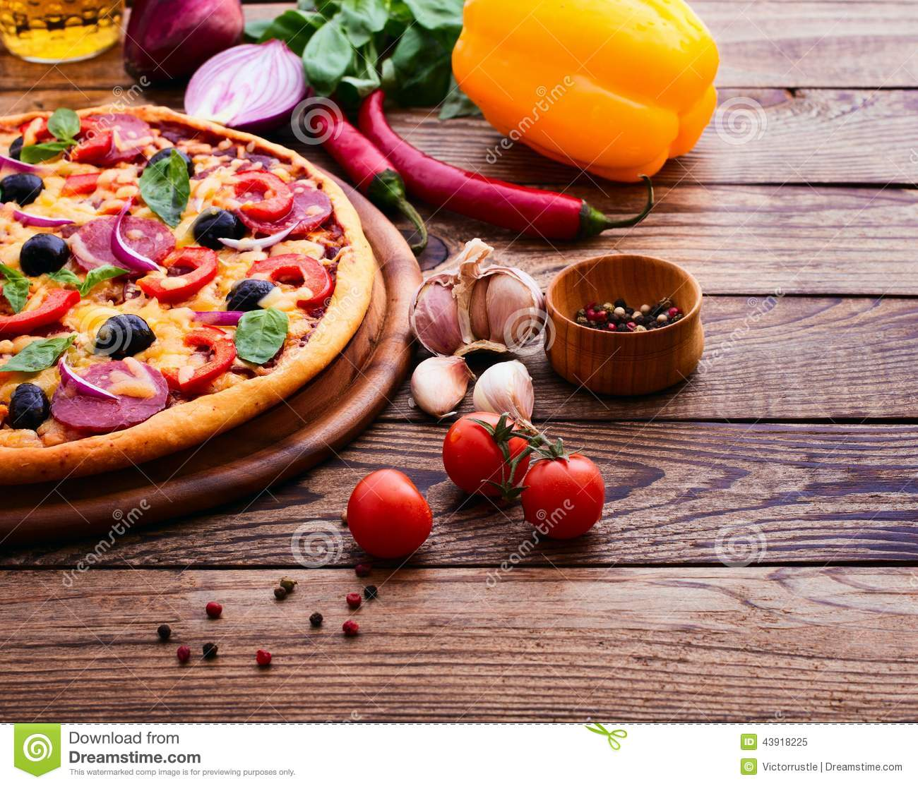 Pizza With Ham, Pepper And Olives. Delicious Fresh Pizza ...