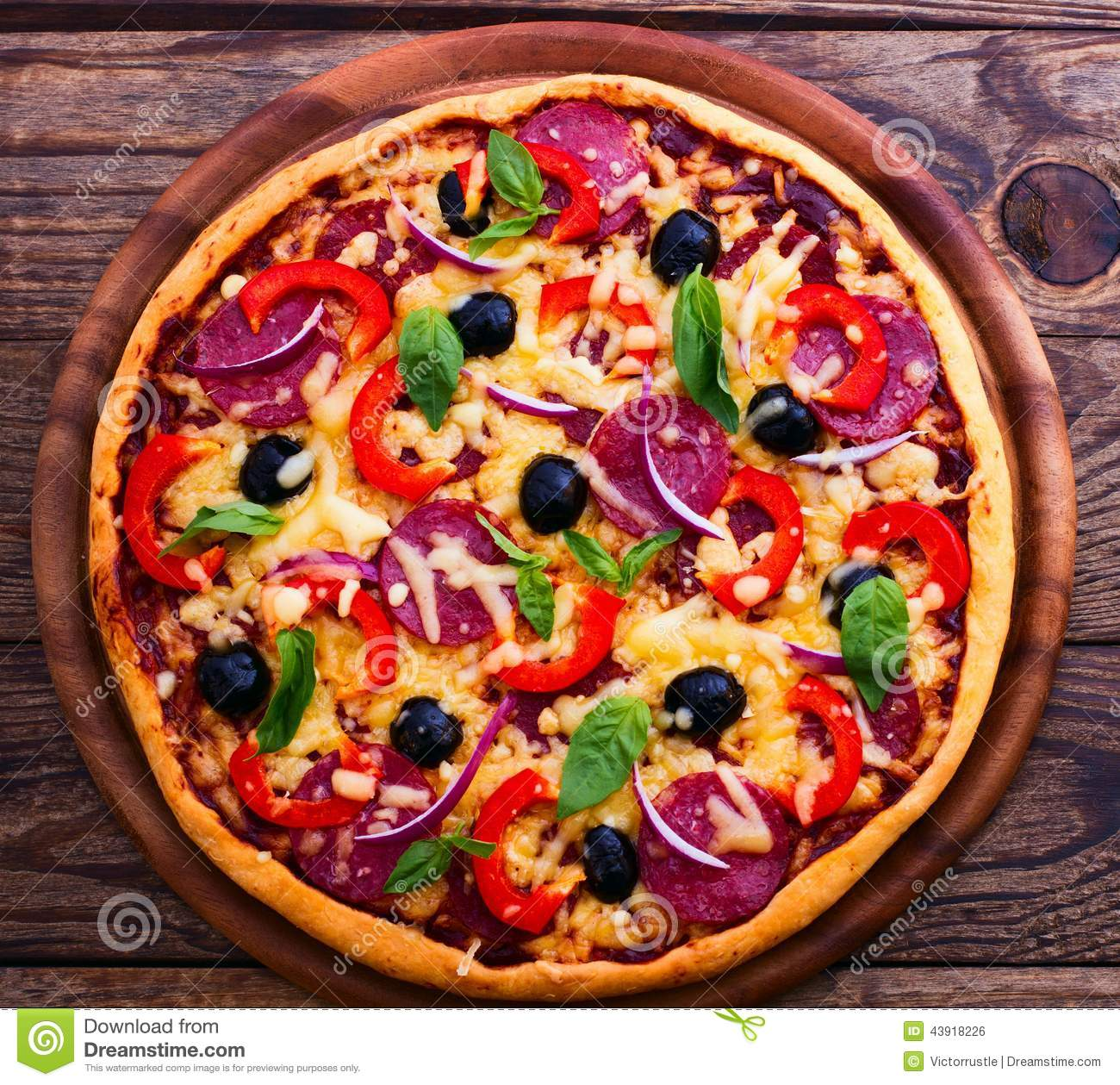 pizza with ham pepper and olives delicious fresh pizza served on wooden table stock. Black Bedroom Furniture Sets. Home Design Ideas