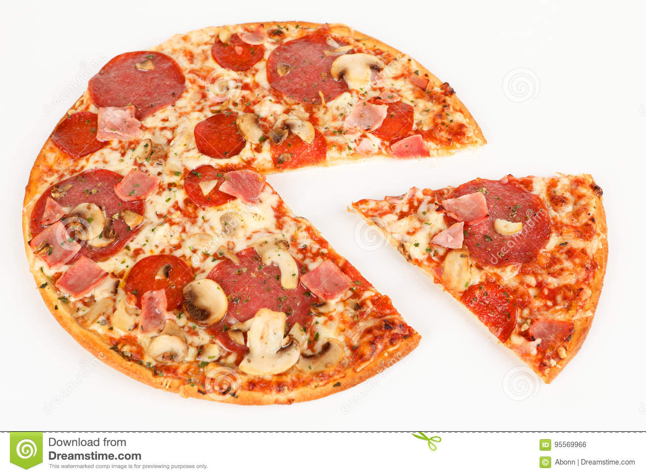 A pizza with ham and salami