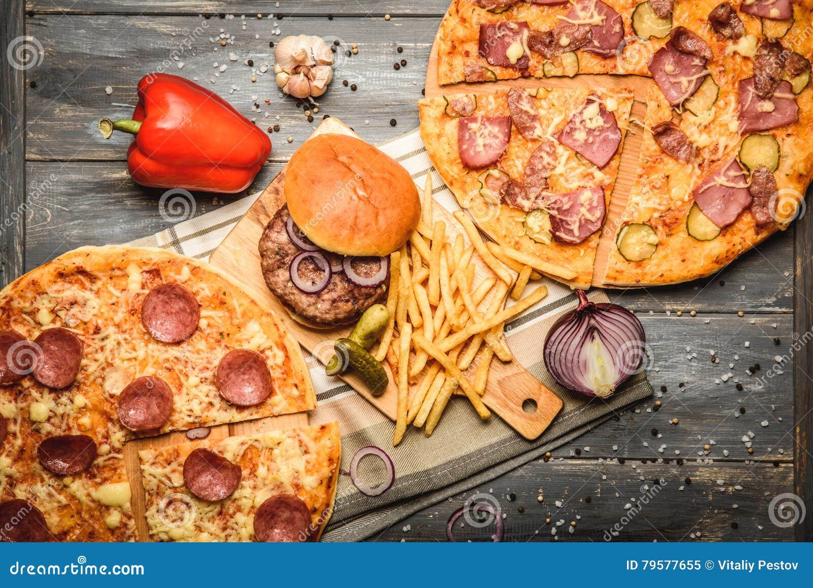 Pizza And Hamburger On Wooden Background Stock Image Image Of Lettuce Fresh 79577655