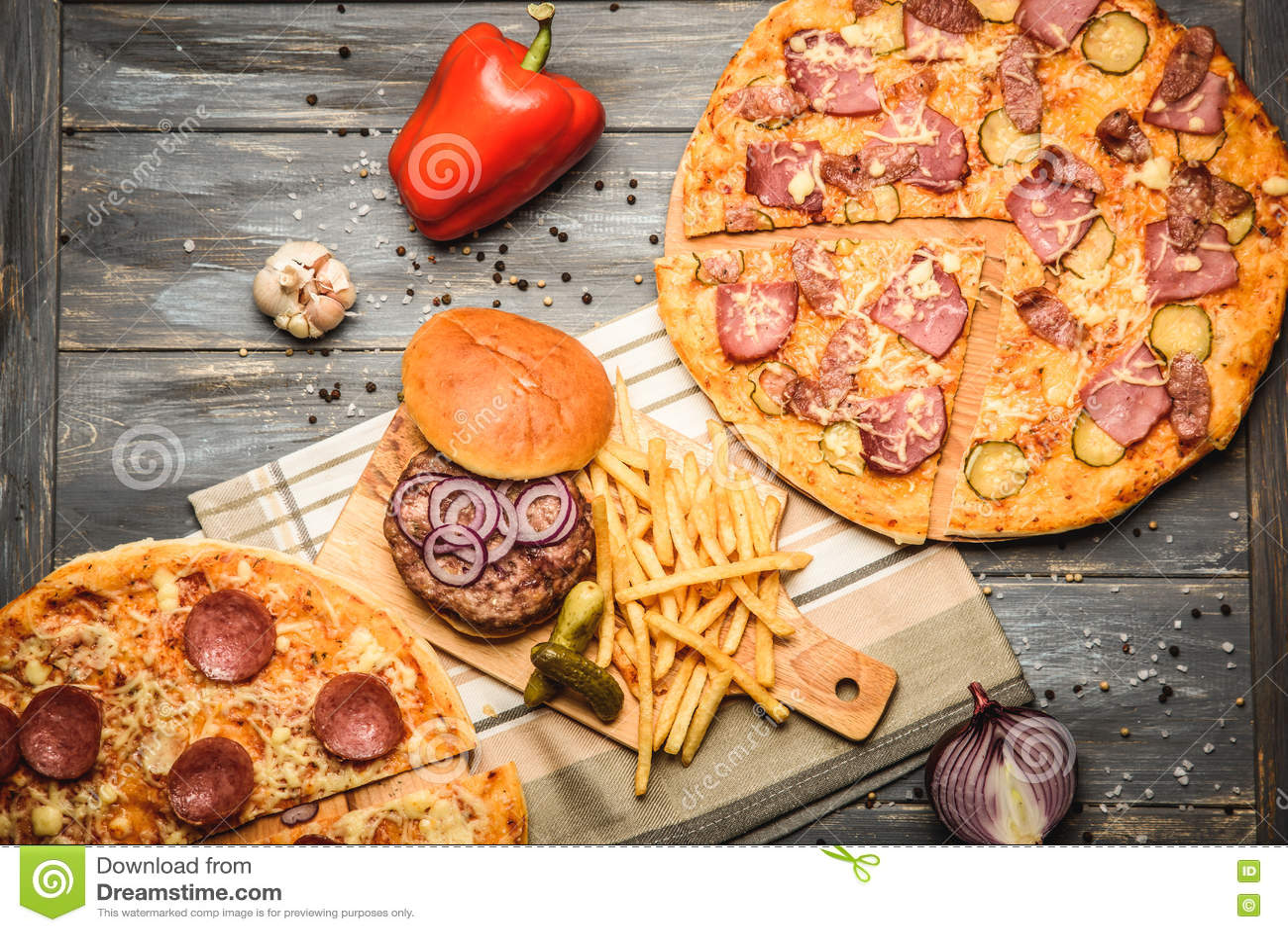 Pizza And Hamburger On Wooden Background Stock Photo Image Of Fresh Lettuce 79600954
