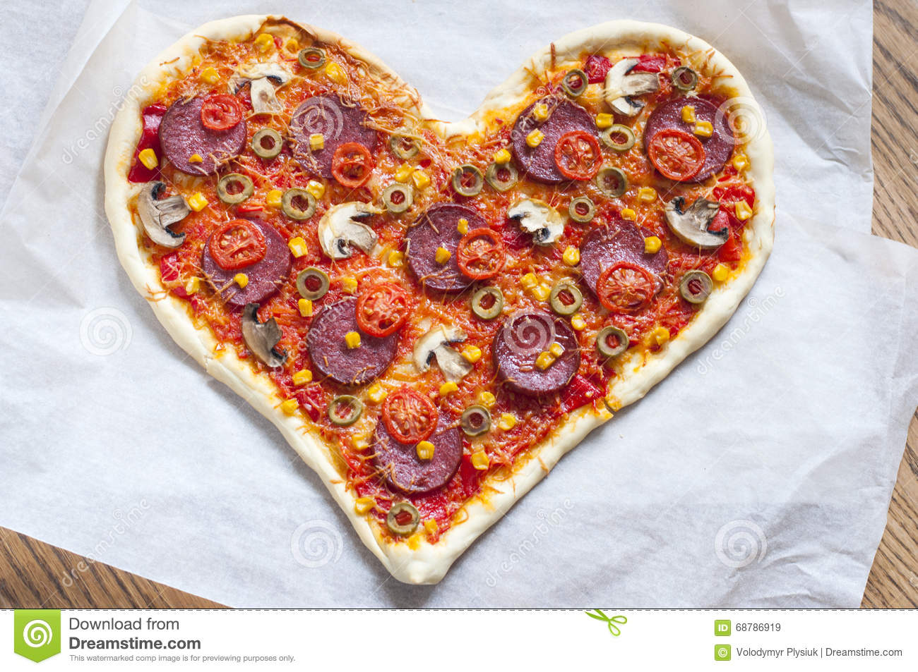 Pizza Heart Shaped With Pepperoni Stock Photo Image