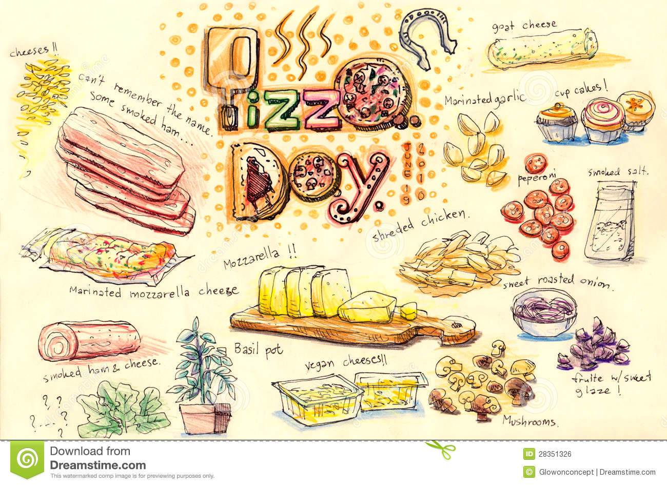 Pizza Homemade Party Ingredient Illustration Royalty Free