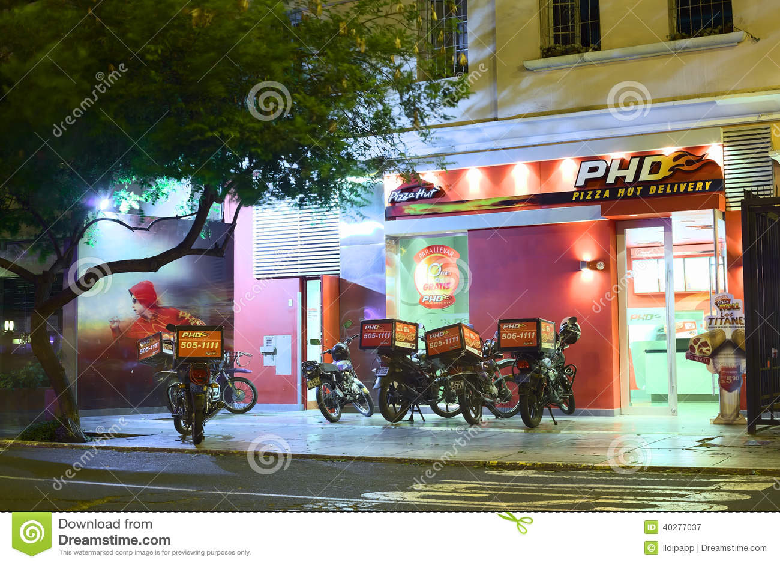 Pizza Hut Delivery In Miraflores Lima Peru Editorial Photography