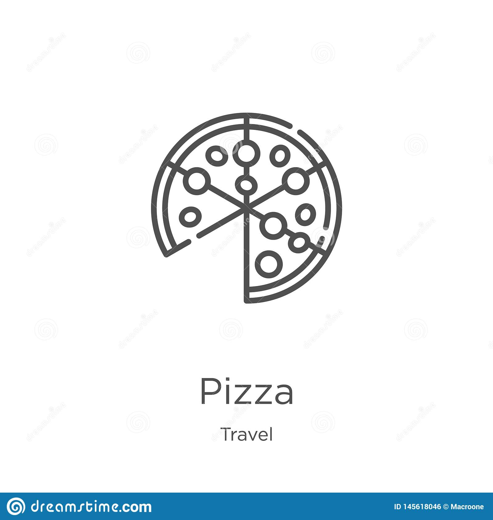 pizza icon vector from travel collection. Thin line pizza outline icon vector illustration. Outline, thin line pizza icon for