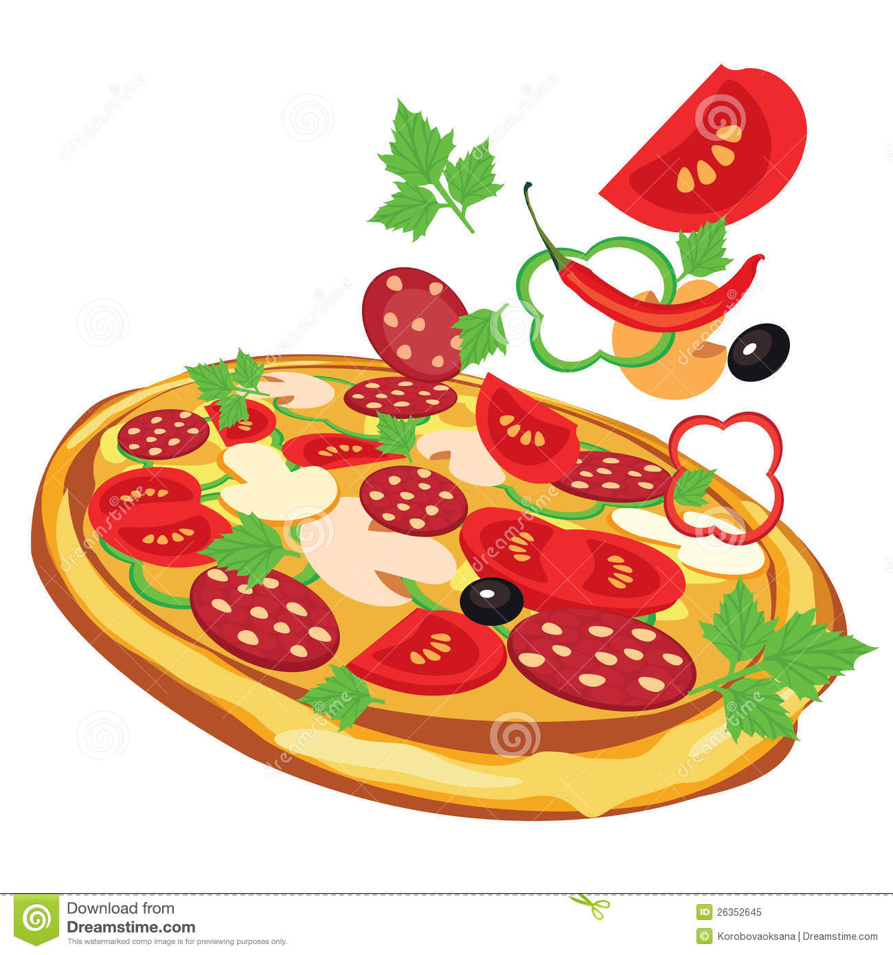 Animated Pizza Background Pizza, Illustration Ro...