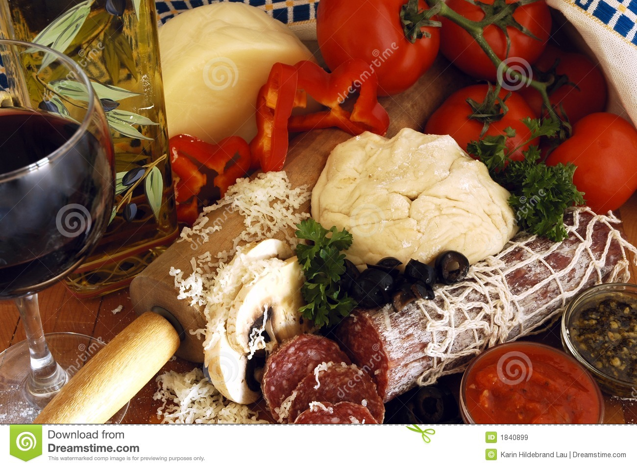 Pizza Ingredients stock image. Image of board, rolling ...