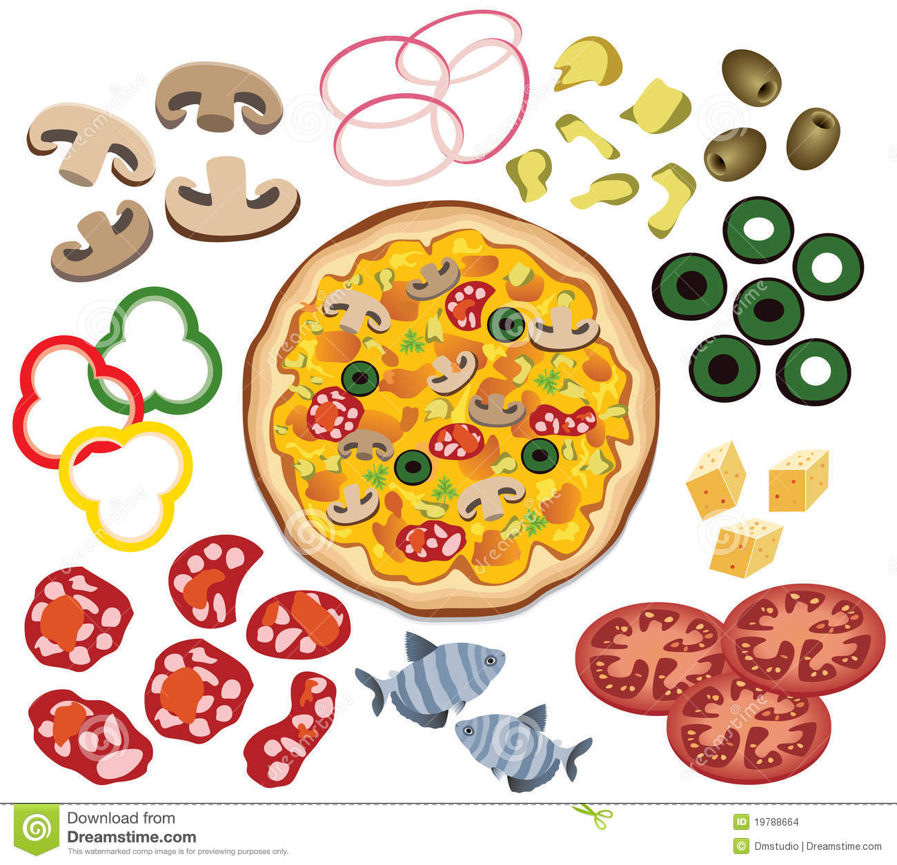 Pizza Topping Coloring Page Free Here