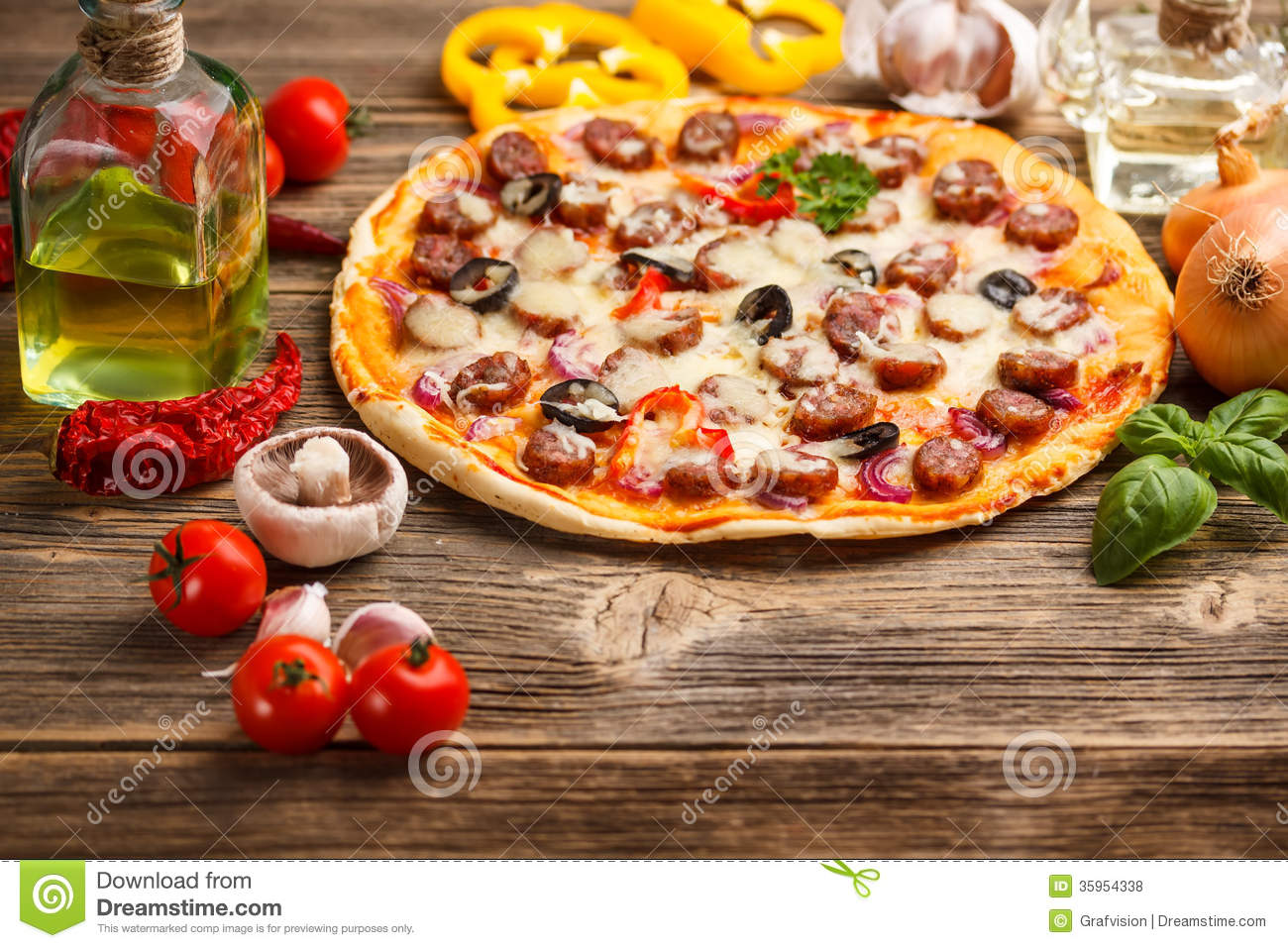 Pizza With Ingredients Stock Photo Image Of Baked Black 35954338