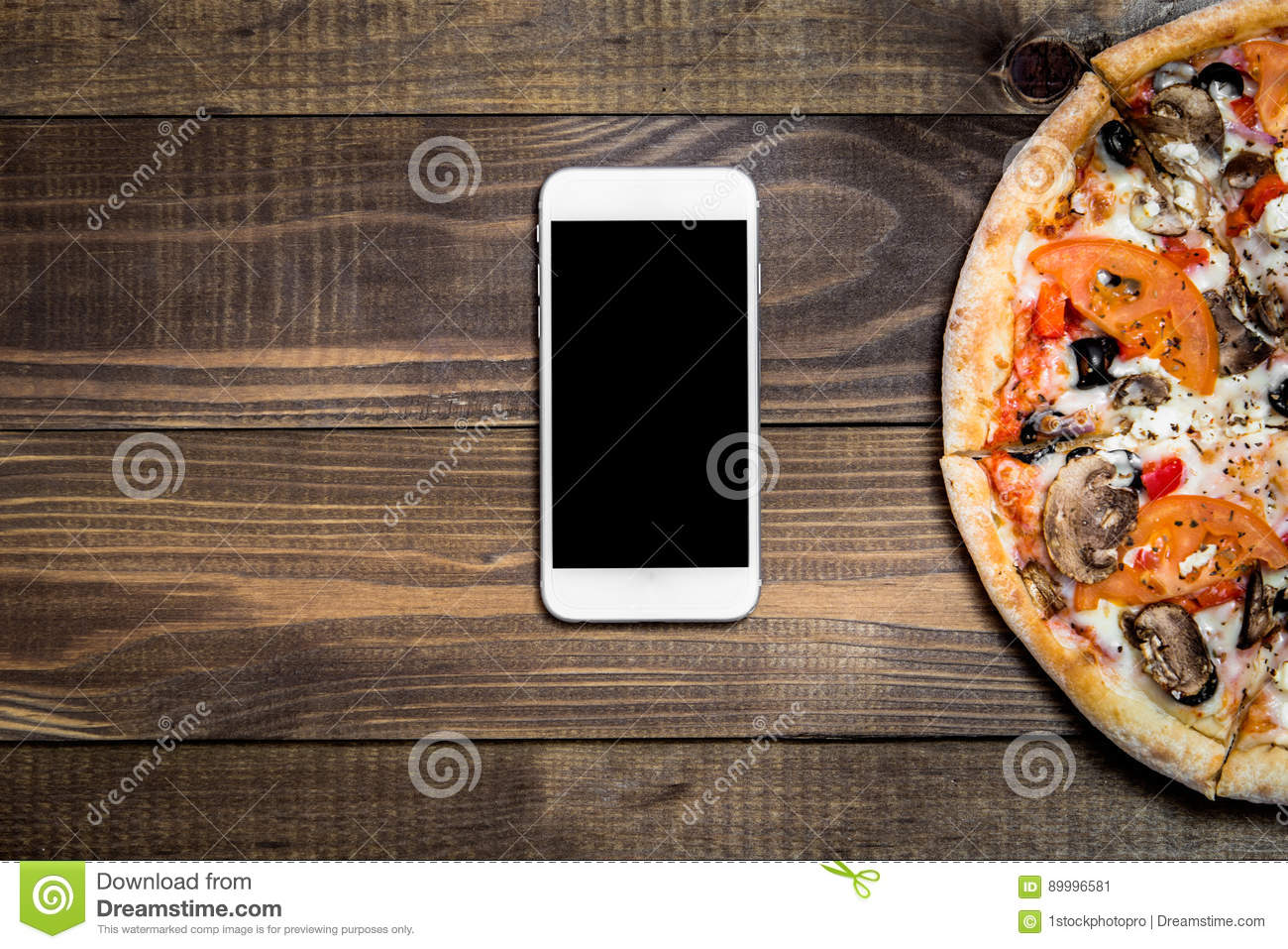 Pizza, Italian food delivery, call or order online on mobile, cellular, smart phone.