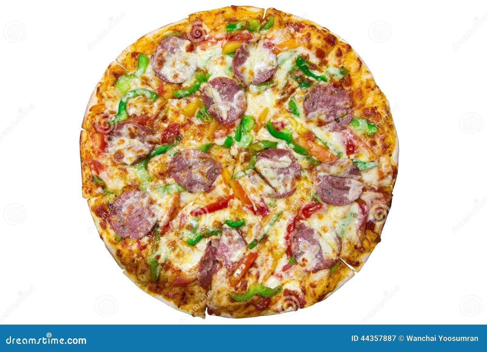 Pizza italiana deliziosa sopra bianco