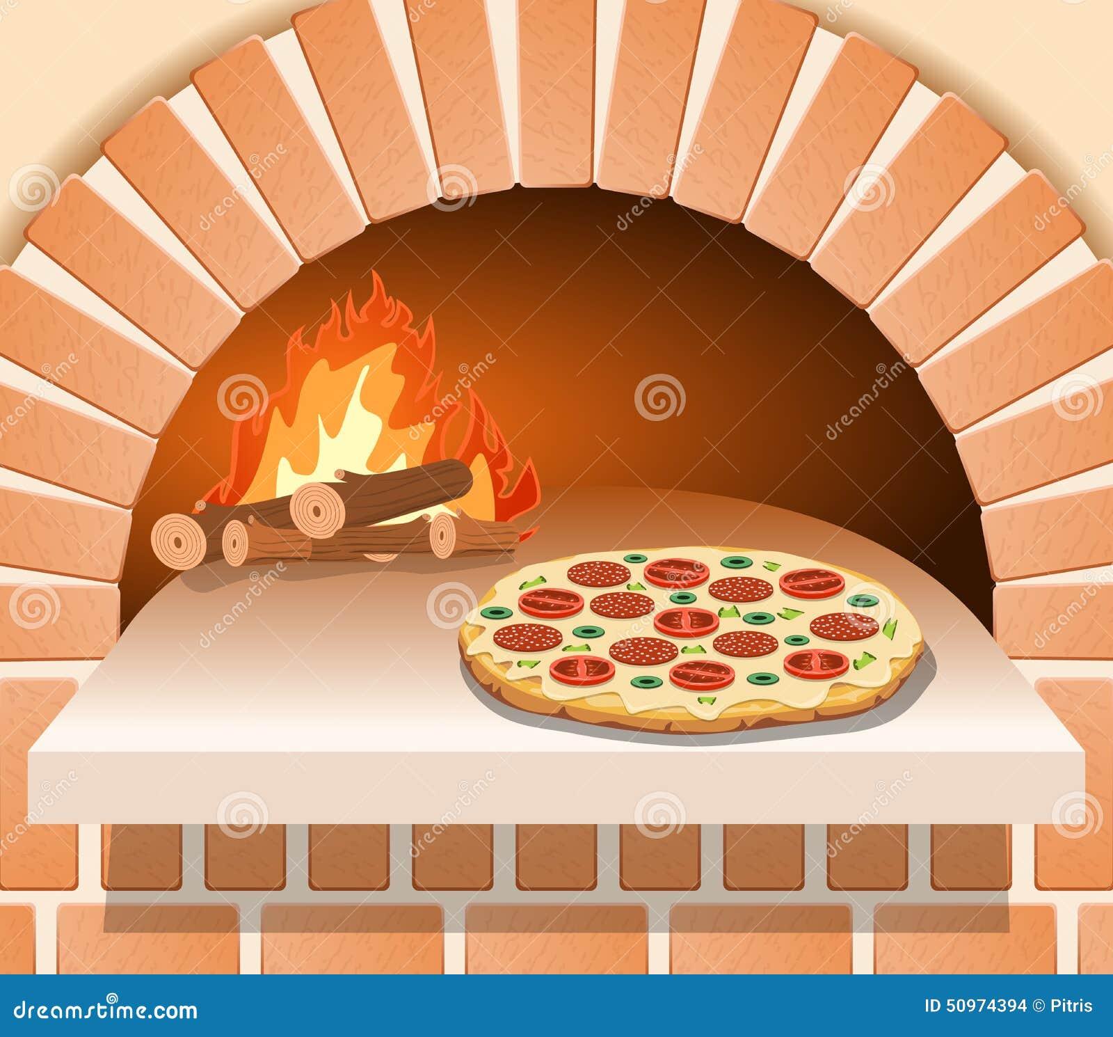 pizza italienne avec la tomate la saucisse et les champignons devant le four illustration de. Black Bedroom Furniture Sets. Home Design Ideas