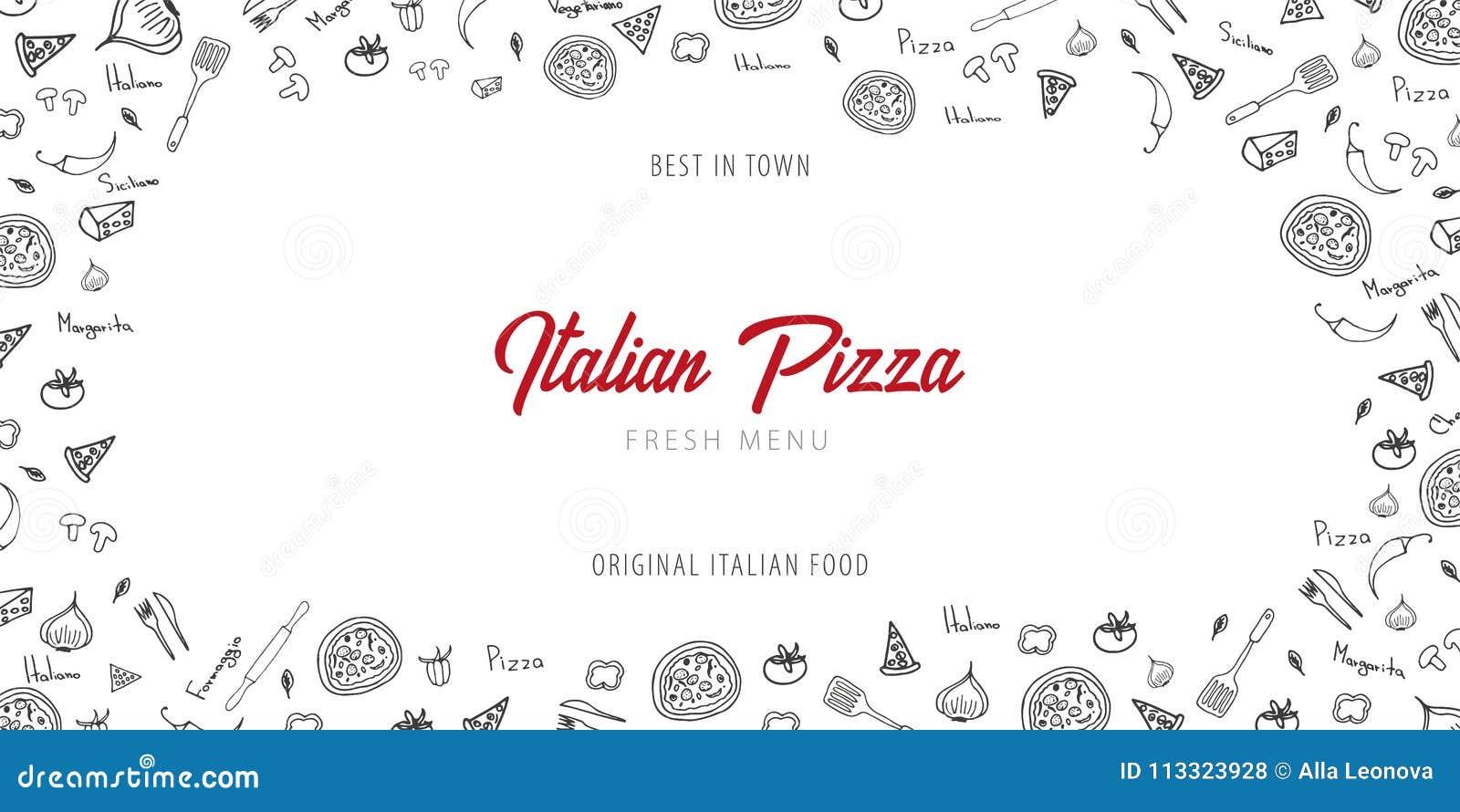 Pizza karmowy menu dla restauraci i kawiarni Projekta sztandar z pociągany ręcznie graficznymi elementami w doodle stylu również