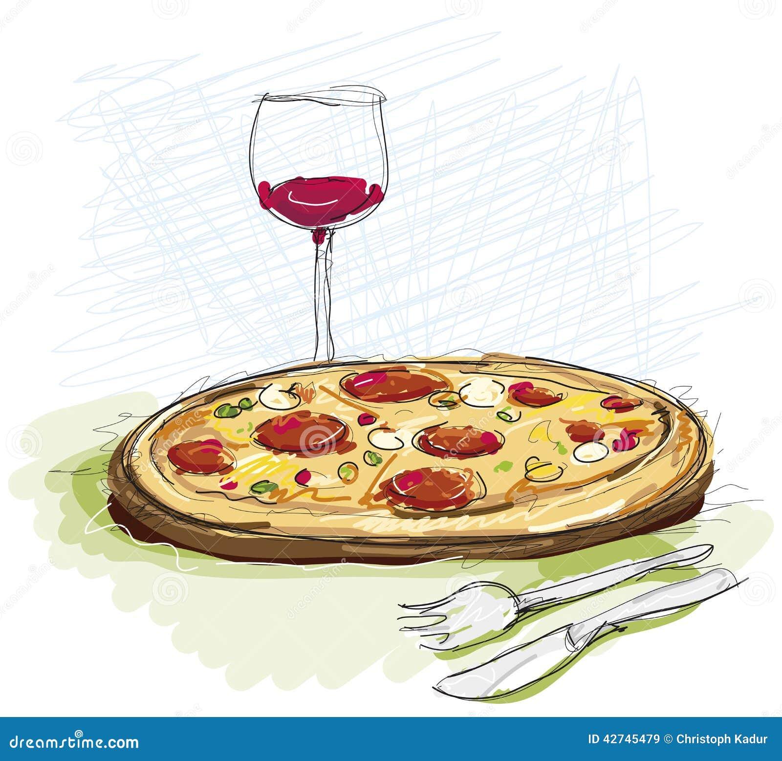 pizza mahlzeit im restaurant stock abbildung illustration von glas gedient 42745479. Black Bedroom Furniture Sets. Home Design Ideas