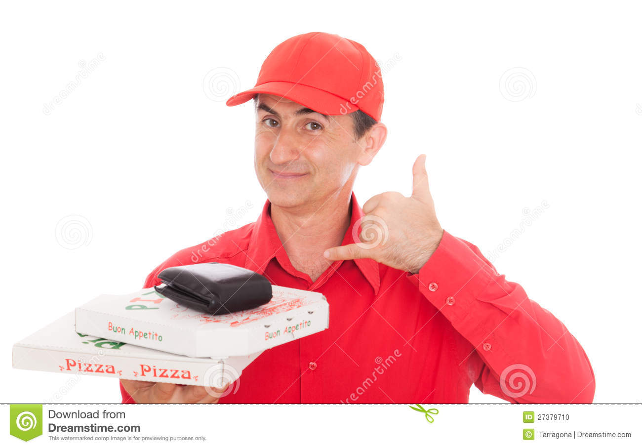 Friendly older man working as pizza man