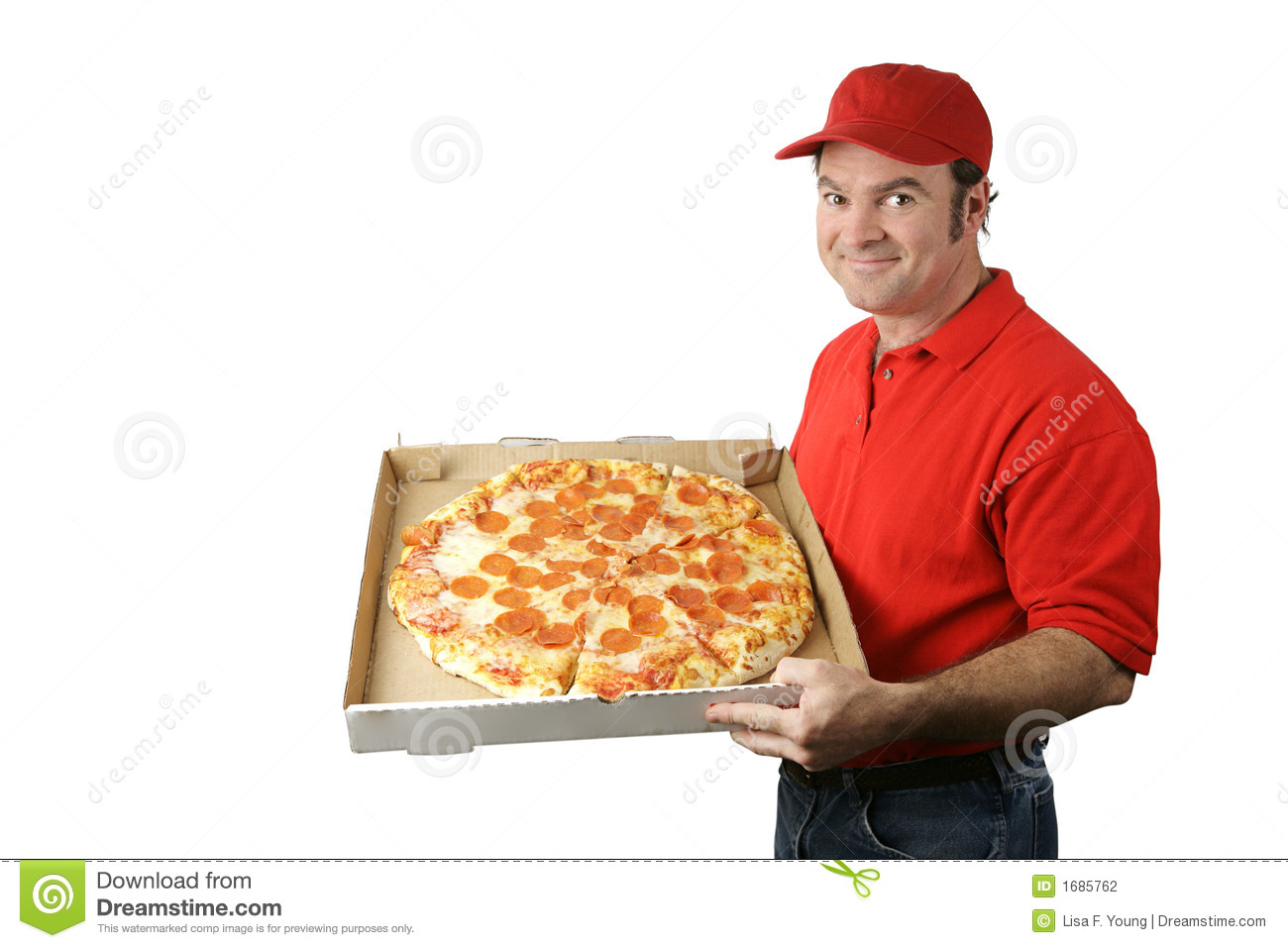 pizza delivery man holding a hot, fresh pepperoni pizza. Isolated on ...