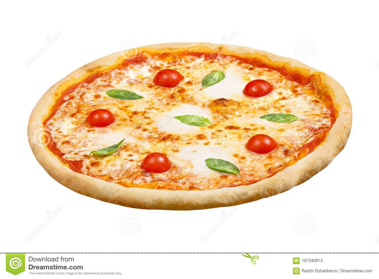 Download Pizza Margarita With Mozzarella Cheese Basil And Tomato Template For Your Design