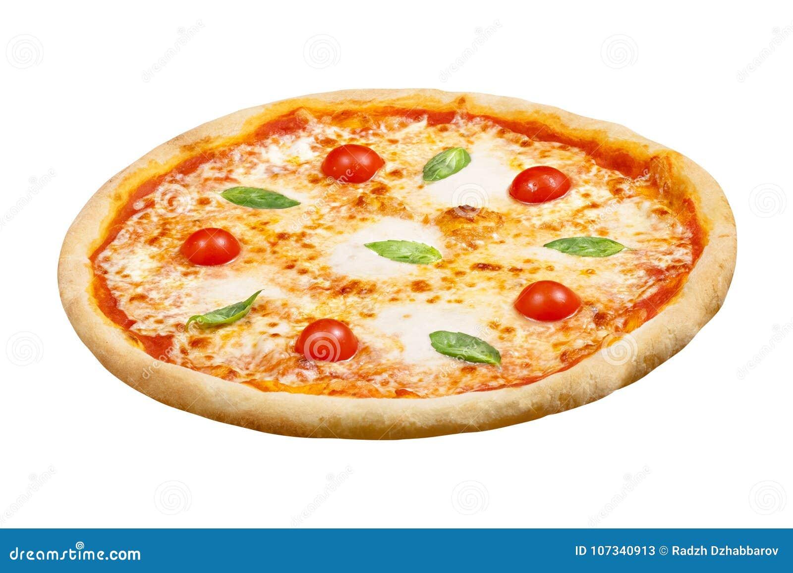 Pizza Margarita z mozzarella serem, basil, pomidor, szablon dla twój projekta i menu restauracja, odosobniony biały tło