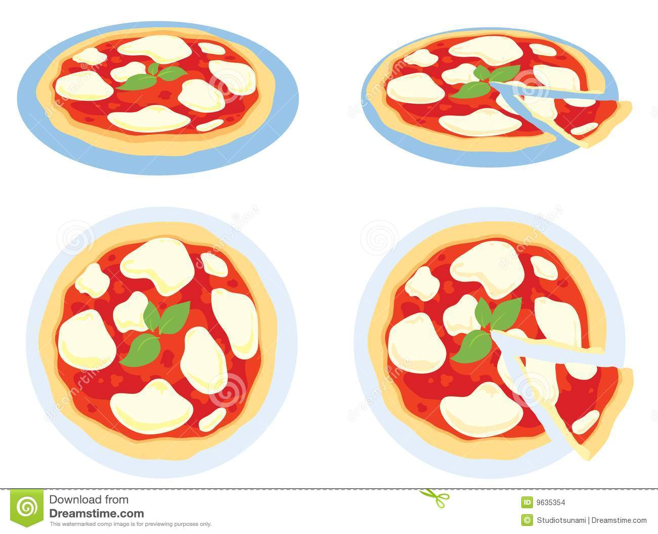 Four View Of A Margherita Pizza On White Background