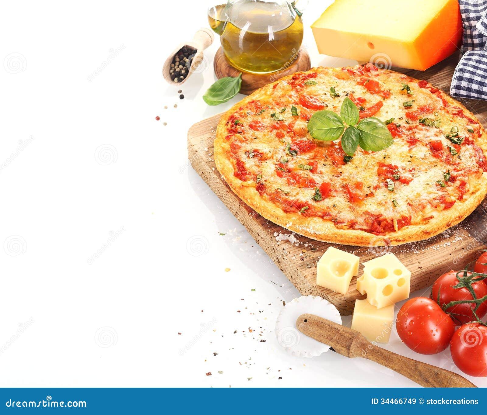 Pizza Margherita No Fundo Branco Imagem De Stock Imagem