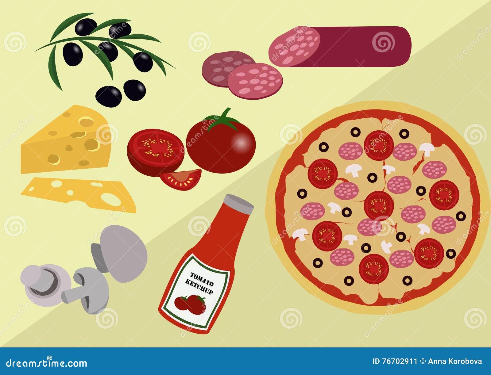 Pizza med dess Ingridients