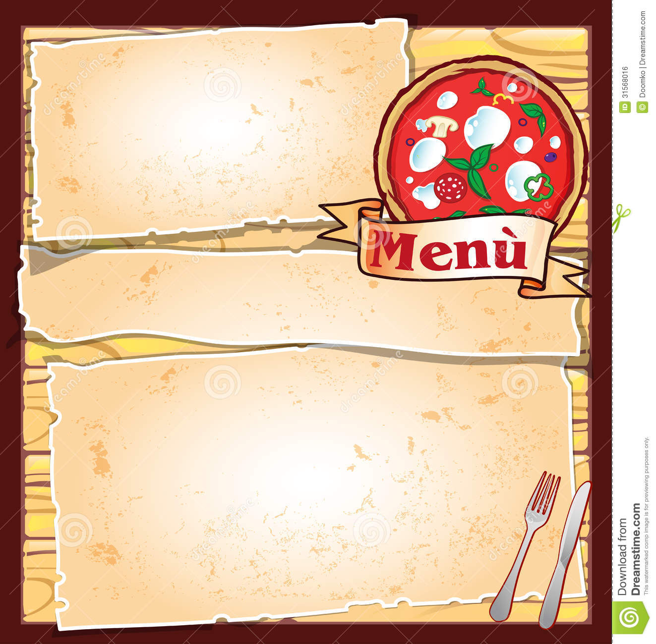 Pizza Menu Stock Vector Illustration Of Ocean Cooking