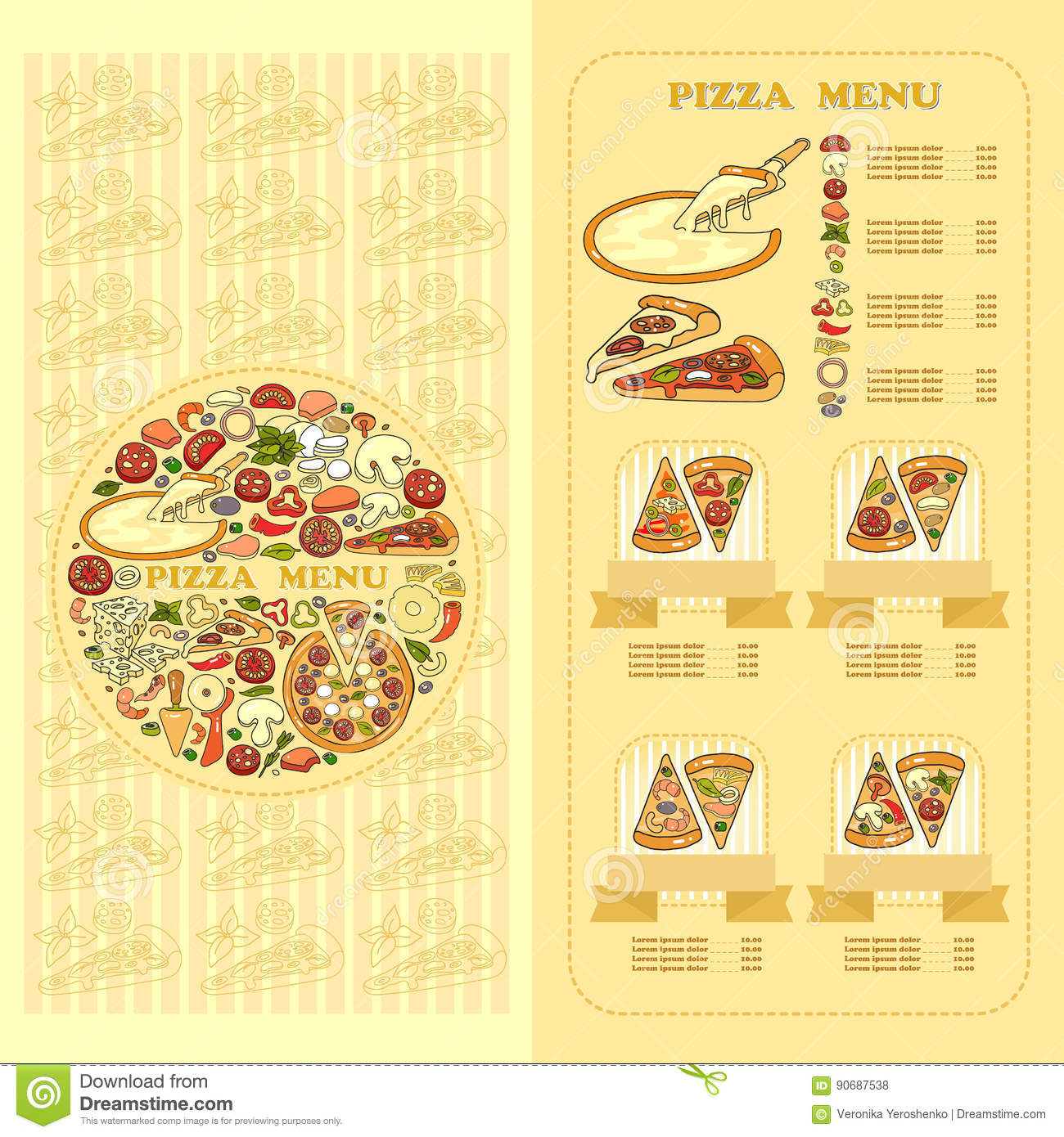 Pizza Menu card. Set of cute various pizza ingredient icons.
