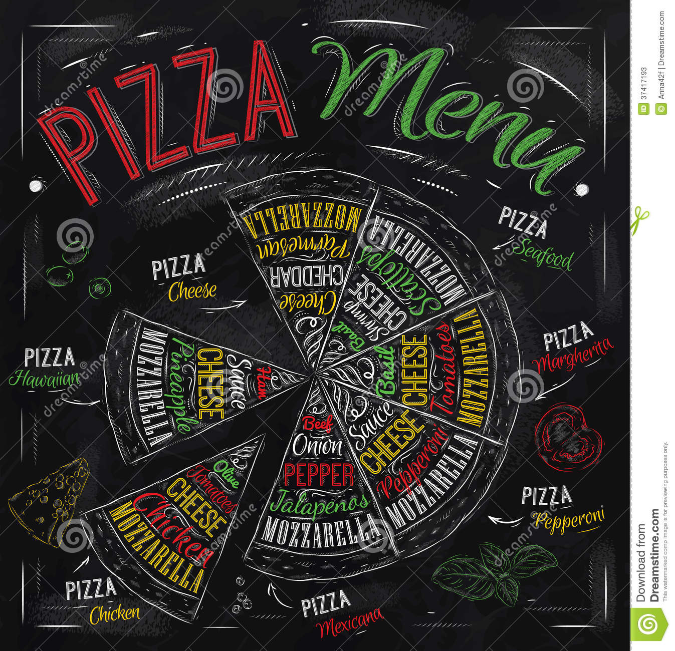 Pizza Menu Drawing With Color Chalk Stock Photos Image