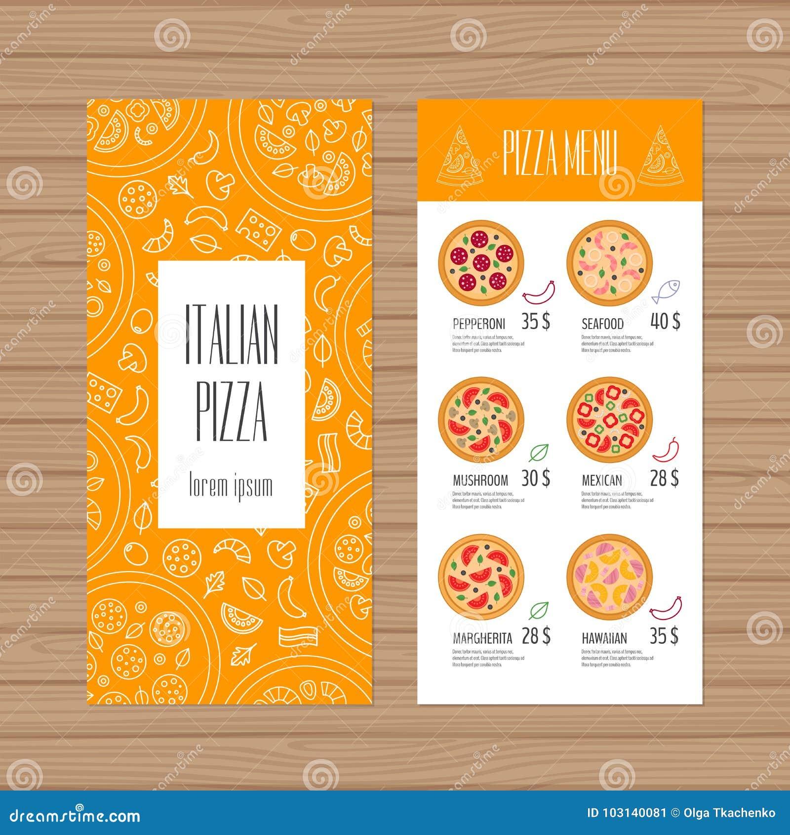 Pizza Menu Projekt Ulotki I Ulotki Układu Szablon