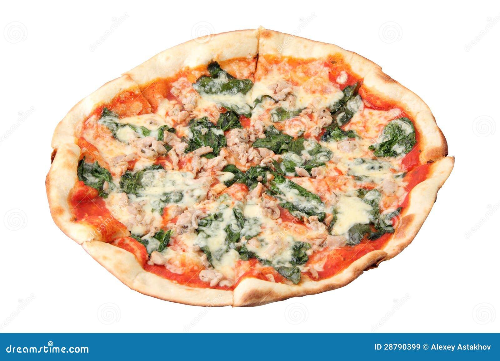 Pizza Met Kip En Spinazie Stock Afbeelding Afbeelding Bestaande Uit